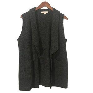 LOFT Charcoal Drape Open Sweater Vest w/pockets